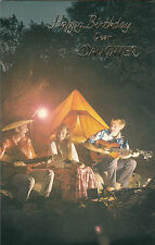 Vintage Happy Birthday Daughter 1970's Greeting Card - Camping Guitar Singalong