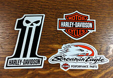 3 Harley Davidson Stickers ~ #1 Willie G Skull / Bar & Shield / Screamin Eagle