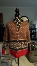 Eddie Bauer Cardigan Sweater Women's Wool Alpaca Brown Red Gray Fair Isle Sz S