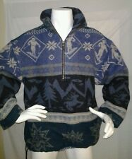 LL BEAN Winter Blanket Wool Pullover 1/2 Zip COAT Jacket Ski Reindeer Snowflake