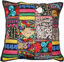 """Embroidered 16"""" Black Pillow Cushion Cover Patchwork Throw Ethnic Indian Decor"""