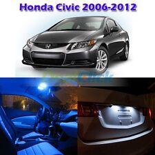 6x Blue Interior Light LED Bulb Package for Honda Civic 2006-2012 Sedan & Coupe