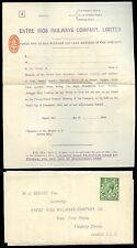 RAILWAY ENTRE RIOS KG5 UNUSED REPLY PAID VOTING SHEET + STAMP DUTY 1918