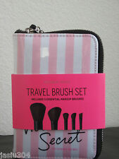 NEW Victoria's Secret 5pc Travel Brush Set Kit PINK STRIPES Case Makeup Brushes