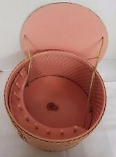 Vintage PRINCESS Pink Round Wicker Sewing Basket With Label