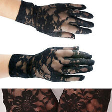 Women Black Sheer Lace Floral Gloves Wrist Wedding Lady Costume Opera Party Prom
