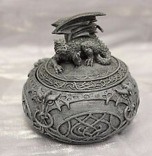 Laying Dragon Statue Celtic Trinket & Jewelry Box Gothic Fantasy Free S&H