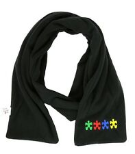 Embroidered AUTISM AWARENESS SCARF - Puzzle Piece Fleece SCARF