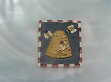 Estate Small Carved Resin Beehive & Bees Country Rectangle Pin Brooch -