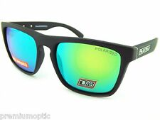 DIRTY DOG Polarised MONZA Wrap Sunglasses Satin Black / Green Mirror 53406