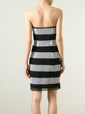 NEW £210 Michael Kors Perforated Black White Stripe Bustier Fitted Flare Dress 4