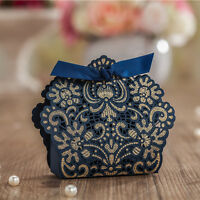 Luxury Navy Blue Laser Cut Wedding Favour Boxes Party Gift Candy Bags & Ribbons