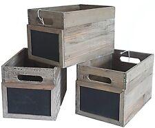 lot 3 casier caisse bac cagette cageot de rangement en bois et ardoise 20x30x20