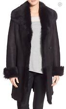 New! $2,495 HIDE SOCIETY HIDESOCIETY Raw Edge Genuine Toscana Shearling Coat 12