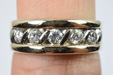 14k Natural Gold Diamond Two Tone Engagement Band Ring .50 ct F-E SI1 Size 7.5
