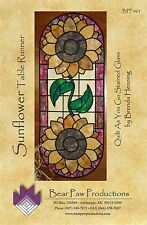 SUNFLOWER TABLE RUNNER IN STAINED GLASS QUILTING PATTERN, From Bear Paw Products