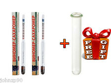 2 ALCOHOL HYDROMETERS FOR BEER WINE LIQUOR + SUGAR CONTENT SCALE + FREE TUBE