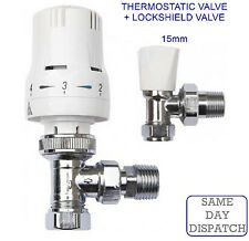 "Thermostatic Radiator Valve Twin Pack 15mm x 1/2"" TRV Lockshield Valves CHEAPEST"
