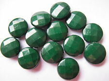 13 dark green faceted acrylic flat round coin beads 15mm