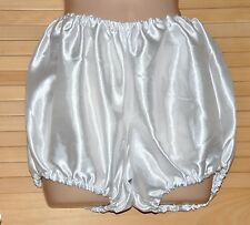 "FI 005 Super virgin white satin silky bloomers, waist to 38"" BN"