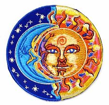 Sun & Moon Iron On Patch- Peace Hippy Stars Eclipse Embroidered Applique Badge