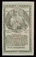 santino incisione 1600 S.GREGORIO DI NAZIANZIO
