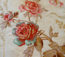 Antique Shabby French Pink Aqua Poppy Floral Cotton fabric ~Pink Red Aqua Taupe