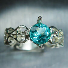 1.10cts Natural Paraiba blue apatite round cut 925 silver engagement ring