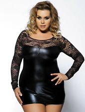 Plus Size Lingerie 6X Black Liquid Lame & Lace Mini Dress SEXY Fetish Clubwear