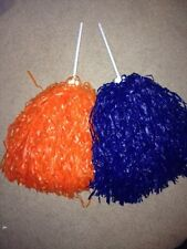 PAIR of MULTI-COLOR ROOTER Pom Poms *DENVER BRONCO COLORS*