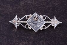 1886 Chester Solid Silver & Gold Love Sweetheart  Brooch Pin lozenge Flowers