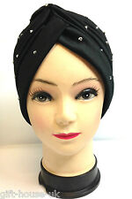 SILVER STUDS STRETCHY LADIES CHEMO BLACK TURBAN INDIAN CLOCHE PLEATED HEAD WRAP