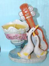 Unique Vintage GOOSE Bass Candle Holder Welcome Sign Guitar Porcelain Duck