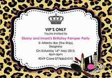10 Personalised VIP Joint Pamper Birthday Party Invitations Pink & Leopard Print