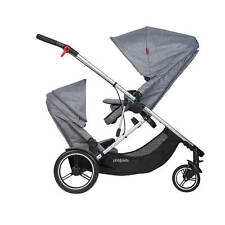 Phil & Teds Voyager Double Stroller in Grey Marl - NEW - Open box - LATEST MODEL
