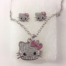 Rhinestone Hello Kitty Stud Earrings And Necklace Set Come With Gift Box
