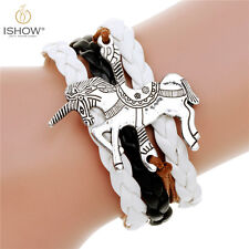 Fashion Charm Silver Tone Horse Multilayer Pu Leather Braided Bracelet Bangle