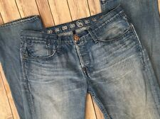 Earnest Sewn Jeans Fulton Straight Leg Oren Clean 34 x 35 Long Button Fly Men's