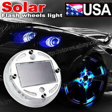 4X Solar LED Wheel Center Cap Light Neon Hub Undercar Under Car Body Glow Set 10