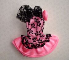 Genuine Barbie Doll Clothes - Baby Pink Satin & Black Lace Dress