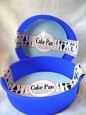 NEW SILICONE SET OF 2 18cm ROUND CAKE BAKING MOULDS NON STICK BLUE