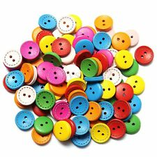 100pcs Mixed Round 2 Holes Wood Sewing Buttons Scrapbooking DIY Craft 15mm
