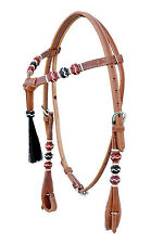 Western Natural Futurity Style Headstall with Multi Rawhide Weaving/ Blk Tassel