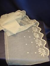 """Victorian Off White Lace Trim 43"""" x 9 1/2"""" Scalloped Edge Nice Cond Doll Dress"""