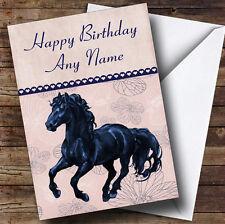 PEACH & Blu Floreale Friesian CAVALLO Personalizzato Compleanno carta
