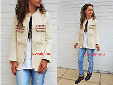 ZARA NEW ECRU EMBROIDERED  COAT JACKET SIZE S