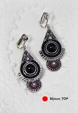 Boucles d`Oreilles Clips Art Déco Goutte Mini Perle Noir Rose Mariage CC 2
