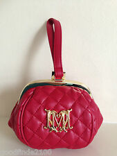 LOVE MOSCHINO RED QUILTED ECO LEATHER BAG CLUTCH WRISTLET + DUST BAG