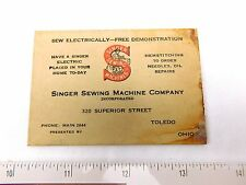 Early Singer Sewing Machine Co, Superior St., Toledo, OH Sew Electrically F46