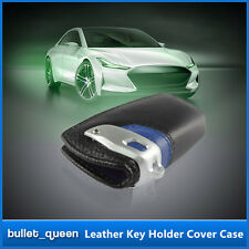 Genuine Leather Key Fob Holder Cover Case For BMW 1-7 Series X3 Black & Blue
